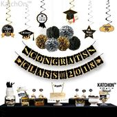 KatchOn Congrats Class of 2018 and Hanging Swirls Kit - Assembled, Graduation Party Supplies 2018, Graduation Banner, Black and Gold