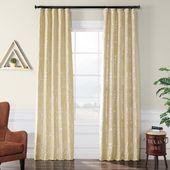 Exclusive Fabrics & Furnishings Gwendolyn Silver Flocked Faux Silk Curtain – 50 in. W x 84 in. L-PTFFLK-C39-84