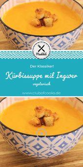 Kürbissuppe mit Ingwer (vegetarisch)