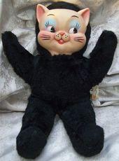 VINTAGE TOY ARCHIVE: 1960 Knickerbocker – Black Cat – Gummi Gesicht – Plüsch …