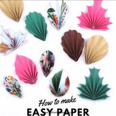 HOW TO MAKE FOUR EASY DIY PAPER LEAVES – FREE PRINTABLE
