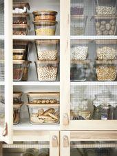 Vorratsbehälter mit Deckel IKEA 365+ rechteckig Glas, Glas Bambus