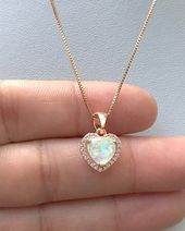 Opal Necklace Pink Heart Lock Charm Pendant Jewelry Dainty Delicate Gift for Women Teens Girls Minimalist Silver Gold October Birthstone