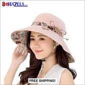 Reversible Foldable Bowknot Wide Brim Beach Hat | GoHazels.com – It's a Beach Thing