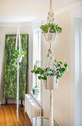 Pflanzerkasten in Makramee, Doppel Modell ausgeset…