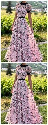 Eine Linie Rundhalsausschnitt mit kurzen Ärmeln Prom Kleider mit 3D Blumen, 3D Blumen Rosa Abendkleider, Abschlusskleider AE432
