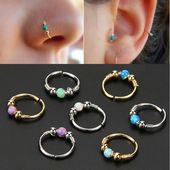 Kreative edelstahl kreisförmige creolen opal lippen nagel nasenring kör …   – Products