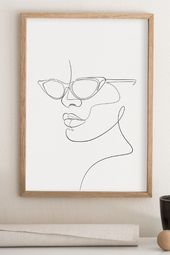 Woman With Eye Glasses Printable Wall Art, Abstract Face Sunglasses Artwork, One Line Drawing Print, Minimalist Fashion Decor, Printable Art