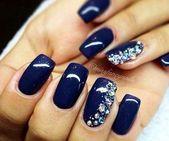 36+ Deep Blue Nail Art Design for Winter Season
