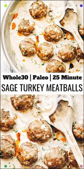 Unbelievably Easy Oven Baked Paleo Turkey Meatballs And Sage Cream Sauce. Gluten…