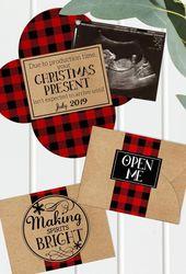 Christmas Pregnancy Announcement – Printable – Grandparents – Gender Reveal – Buffalo Plaid – Baby Announcement – Digital File – Ult