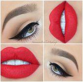 Beste Hochzeit Make-up rote Lippen schwarz bilden Ideen –  #beste #bilden #hochzeit #ideen #l…
