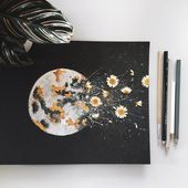 "PRINT: ""Dark Night Outburst"" Moon Watercolor with Gold Leaf and Dried Flowers"