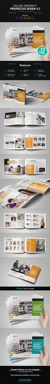 College University Prospectus Brochure Template Vector Eps