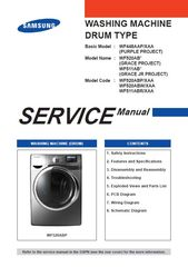 Samsung Wf511abr Wf520abp Wf520abw Washer Service Manual In 2020 Washing Machine Service Manual Disassembly