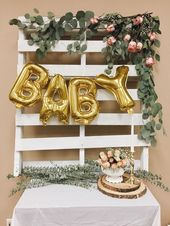 DIY Rustic chic vintage baby shower theme. Pallet. Wood. Baby Girl. Gold Blush P… #rusticbabyshowerideas