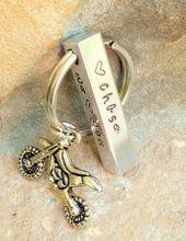 Motocross Keychain, Boyfriend Gifts, for Men, Gifts for Dad, Motocross, Keychain, Hand Stamped Keychain, natashaaloha