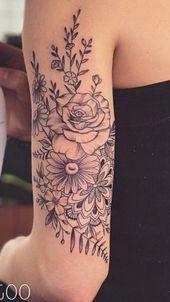 Schöne Blumentätowierungs-Zeichnungsideen für Frauen 67 #flowertattoos #Tattoos #diytattooimages