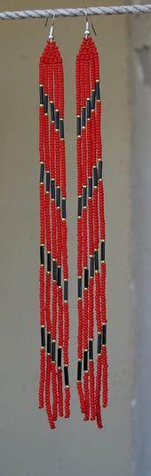 Lange Perlen Boho Ohrringe, Indianer Stil Perlen Ohrringe, rot und gold,#indiane…