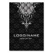 Illustrator Business Card Elegant Black & White Vintage Floral Damasks Business Card