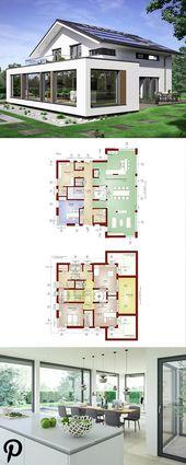 Designhaus mit Satteldach und Atrium – Hauskonzept-M 210 Bien Zenker – Modern gebaute Einfamilienhäuser   – Anbau Ideen