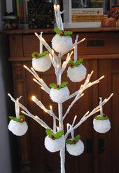 Pom Pom Weihnachtsschmuck, Schneeball Pompoms, Holly Pompom Christbaumkugel, weiße Pompom Weihnachtsschmuck, Hygge Home Decor – Weihnachten