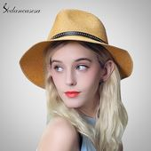 hot straw Hat women summer fedora hat sun beach hat wide brim hats for girl fedora straw hat sun protect SM087021 – Best Pinterest Shopping