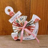 Geldgeschenk Hochzeit maritim in rosa weiß. Großer Anker personalisiert