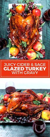Juicy Cider and Sage Glazed Turkey with Gravy
