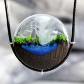 Wood Resin Pendant Forest Pendant Secret World Necklace Natural Jewelry Wood Pendant Resin Necklace Jewelry Womens Pendant