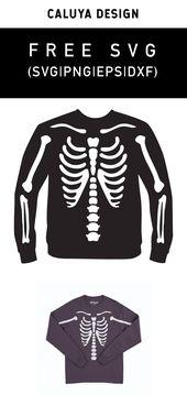 FREE Skelton T-shirt Making SVG cut file, Printabl…