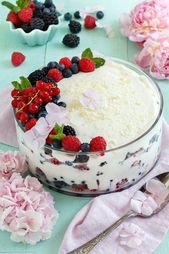 Berries layered dessert with cottage cheese and cream cheese