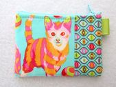 Cat Lady Business Card Case Coin Purse Credit Card Case Fabric Wallet Tabby Road Disco Kitty Tula Pi