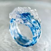 Ocean Wave Cocktail ring • Mermaid and Surfer jewellery • Blue water glass artwork present for ladies
