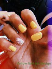 23 Great Yellow Nail Art Designs 2019 1 #nailartideas #nagels   – Sunny Yellow N…