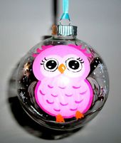 Babys erste Weihnachten Glas Ornament handbemalt Glas Kugeln 4 Zoll Baby Owl Girl personalisierte Name Datum Gewicht Zeit Pink  – Christmas bulb ideas