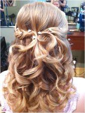 Frisuren mittellanges Haar halboffen – #haare # ha…