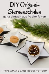 DIY Weihnachtsorigami-Sternschalen aus Papier und Aluminiumfolie   – Navidad