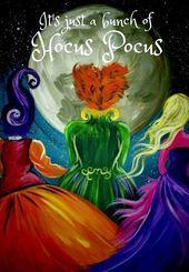 It S Just A Bunch Of Hocus Pocus Halloween Painting Halloween Canvas Halloween Canvas Paintings