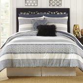 Presidio Square Deco Striped 7-piece Comforter Set - Grey/White (King), Gray/White