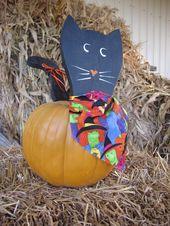 Hölzerne Black Cat Pumpkin Pick