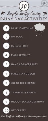 30+ Simple Sanity Saving Rainy Day Activities – these crafts and other fun games… – Crafts