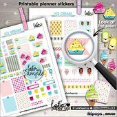 Ice Cream Stickers, Printable Planner Stickers, Sweet Stickers, Kawaii Sticker, Planner Accessories, Popsicle Sticker, Food, Dessert Sticker