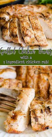 Grilled Chicken with a 3 Ingredient Homemade Rub is fast, easy and delicious. Th…