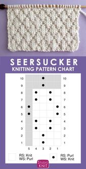 The Seersucker Stitch Knitting Pattern creates textured rows of raised puckered diamonds with an easy 8-Row Repeat of knits and purls. – Tricot