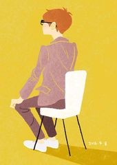 1日1絵 20160408 もう帰っていいかなあ イラストレーション illustration イラスト 男性 boy man f椅子 artwork art illustration