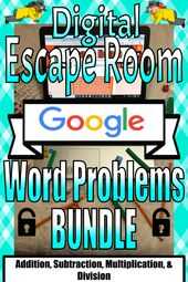 Digital Escape Room-Word Problems BUNDLE: Real-World, Multi-Step & Operation