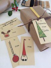 Cadeau de Noël imprimable étiquettes avec illsutration Noël dessiné à la ma…
