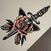 Dagger tattoo. Rose. Traditional.