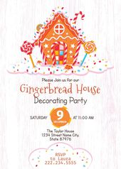Gingerbread House Decorating Party Invite Holiday Invite Christmas Party Invite White wood Gingerbread House Birthday Gingerbread House